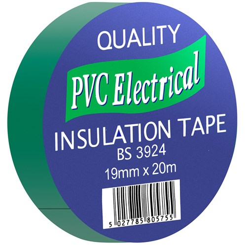 Quality PVC Insulating Tape Green  - 19mm x 20m