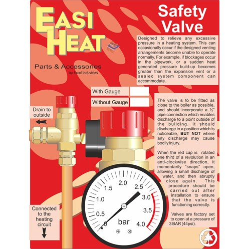 Easi Heat  Side Outlet Safety Valve with Pressure Gauge