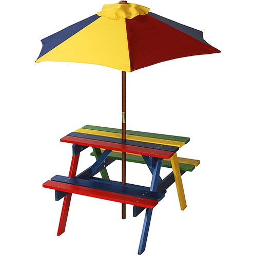 Euroactive Junior Rainbow Picnic Bench With Parasol Childrens - Picnic table parasol